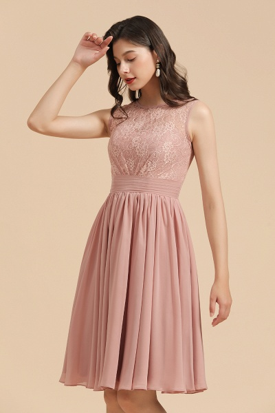 BM2008 Simple Lace Straps Knee Length Short Bridesmaid Dress_7