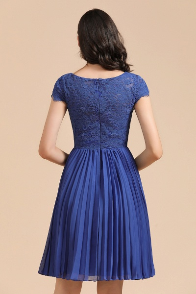 BM2003 Royal Blue Lace Short Sleeve Knee Length Bridesmaid Dress_3