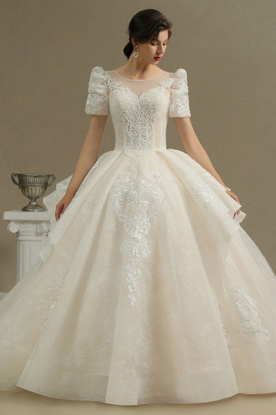 CPH222 Short Sleeve Garden Bridal Gown Sweetheart Luxury Wedding Dresses with Sweep Train_2