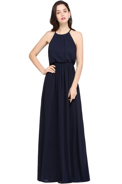 CHEYENNE | A-line Floor-length Chiffon Navy Blue Simple Prom Dress_6