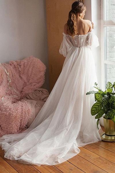 Off shoulder Puffy Sleeve Dot Tulle Wedding Dresses_5