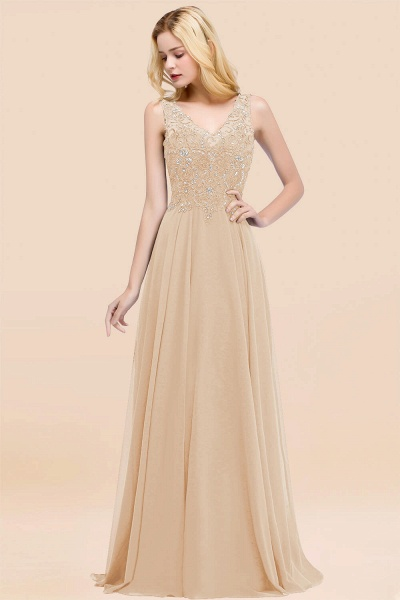 A-line Chiffon Appliques V-neck Sleeveless Floor-Length Bridesmaid Dresses with Crystals_14