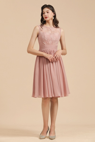 BM2008 Simple Lace Straps Knee Length Short Bridesmaid Dress_6