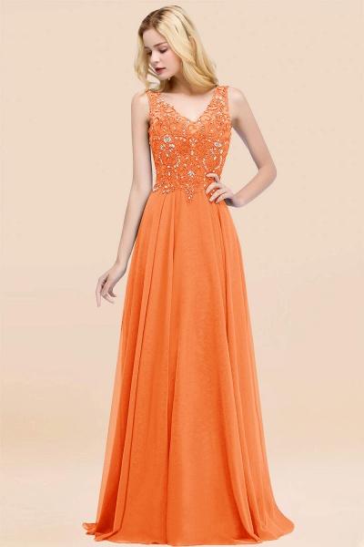 BM0324 Dusty Rose Lace V-Neck Long Bridesmaid Dresses With Appliques_15