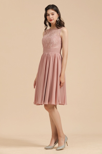 BM2008 Simple Lace Straps Knee Length Short Bridesmaid Dress_5
