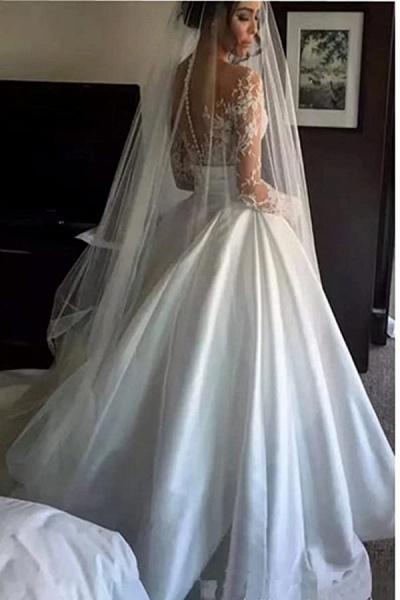 High Slit Lace Mermaid Wedding Dresses with Detachable Skirt_5