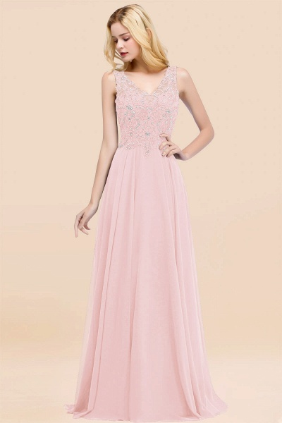 A-line Chiffon Appliques V-neck Sleeveless Floor-Length Bridesmaid Dresses with Crystals_3