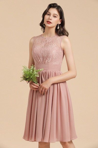 BM2008 Simple Lace Straps Knee Length Short Bridesmaid Dress_9