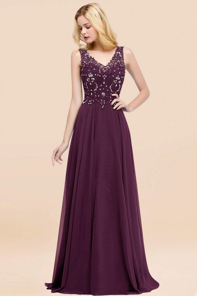 A-line Chiffon Appliques V-neck Sleeveless Floor-Length Bridesmaid Dresses with Crystals_20