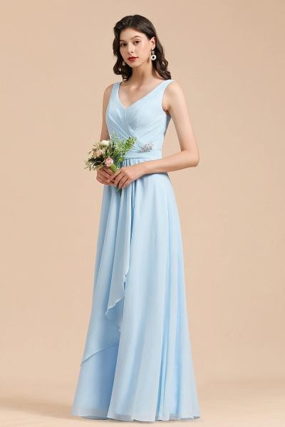 BM2002 Sky Blue Ruffles Straps A-line Beads Bridesmaid Dress_6