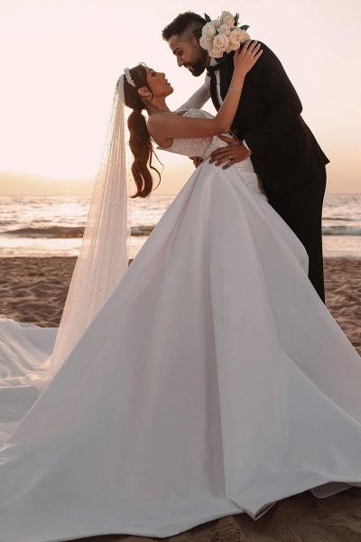 BC5617 One Shoulder Long Sleeve Sequins A-line Wedding Dress_3