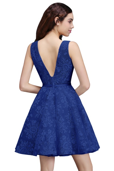ALEAH   A Line Strtaps Lace Cocktail Homecoming Dresses With Sash_3