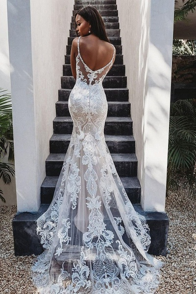 SD2126  Mermaid Appliques Lace Spaghetti Straps Tulle Wedding Dress
