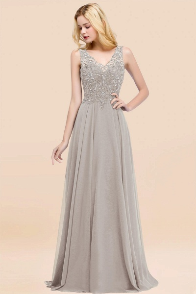 A-line Chiffon Appliques V-neck Sleeveless Floor-Length Bridesmaid Dresses with Crystals_30