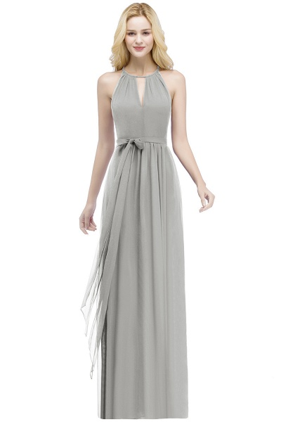 A-line Halter Floor Length Burgundy Bridesmaid Dresses with Bow Sash_7