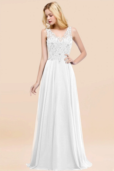 A-line Chiffon Appliques V-neck Sleeveless Floor-Length Bridesmaid Dresses with Crystals_1