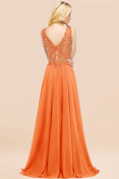 A-line Chiffon Appliques V-neck Sleeveless Floor-Length Bridesmaid Dresses with Crystals_15