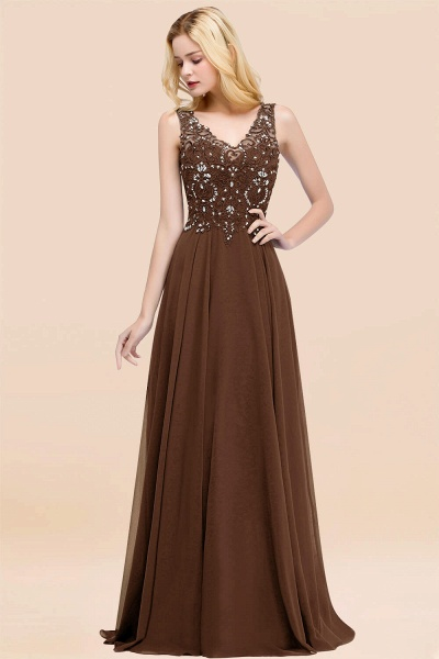 A-line Chiffon Appliques V-neck Sleeveless Floor-Length Bridesmaid Dresses with Crystals_12