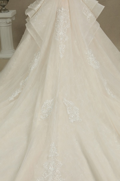 CPH222 Short Sleeve Garden Bridal Gown Sweetheart Luxury Wedding Dresses with Sweep Train_8