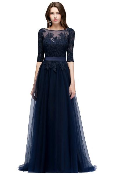 Sleek Jewel Tulle A-line Evening Dress_3