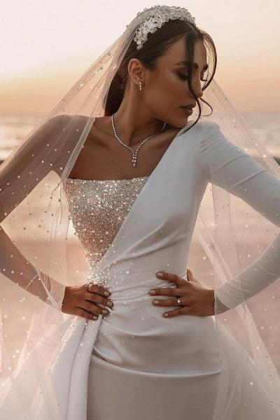BC5617 One Shoulder Long Sleeve Sequins A-line Wedding Dress_9