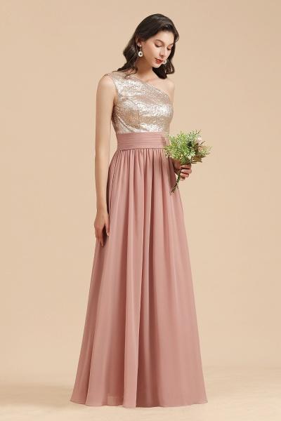 BM2010 Sequins A-line One Shoulder Pink Bridesmaid Dress_6