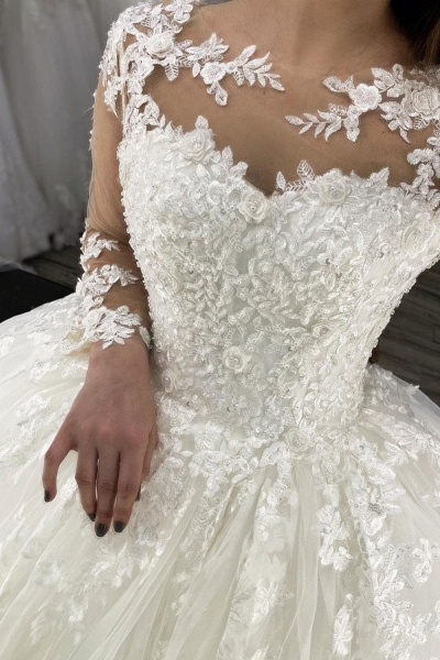 BC5615 Long Sleeve Appliques Sheer Tulle Ball Gown Wedding Dress_2