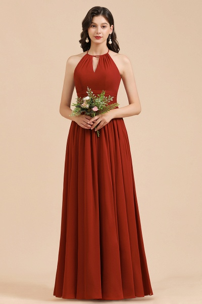 BM2004 Halter A-line Pleated Chiffon Bridesmaid Dress_5