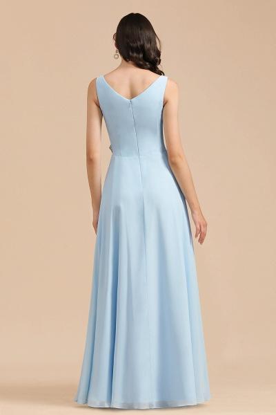 BM2002 Sky Blue Ruffles Straps A-line Beads Bridesmaid Dress_3