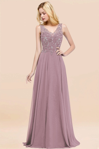 A-line Chiffon Appliques V-neck Sleeveless Floor-Length Bridesmaid Dresses with Crystals_43