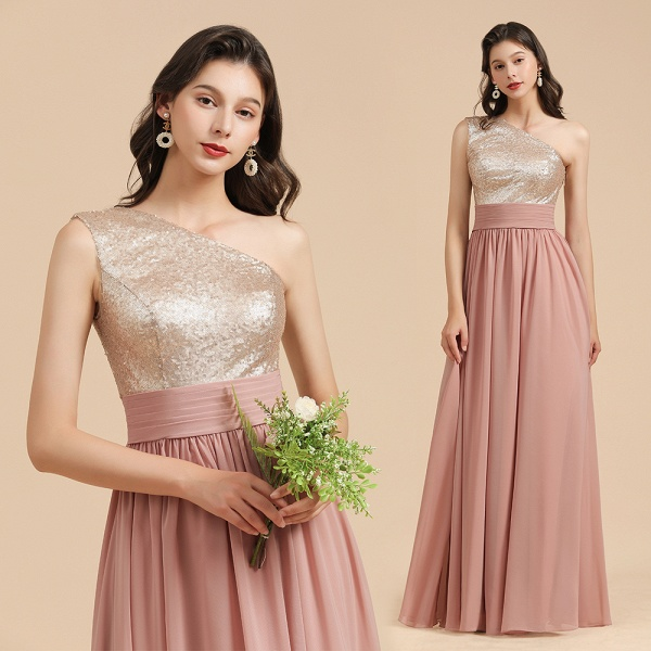 BM2010 Sequins A-line One Shoulder Pink Bridesmaid Dress_10