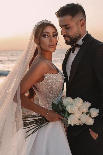 BC5617 One Shoulder Long Sleeve Sequins A-line Wedding Dress_7