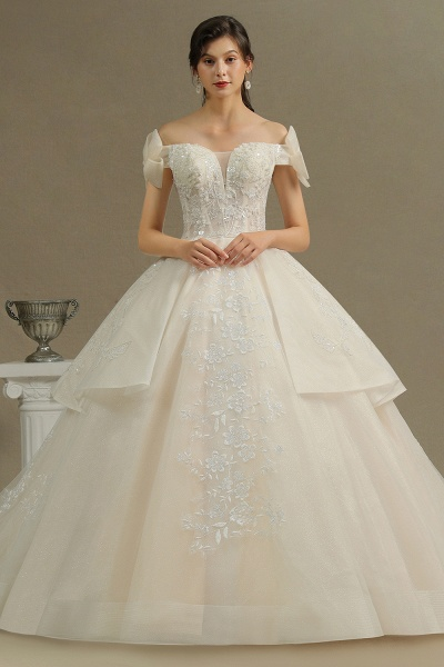 CPH244 Elegant Off-the-Shoulder Tulle Lace Ball Gown Floor Length Luxury Wedding Dresses