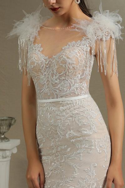 CPH233 Mermaid Further Tassel Appliques Open Back Wedding Dress_4