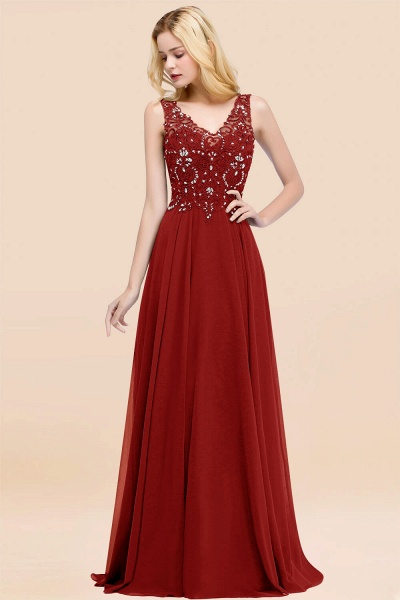 A-line Chiffon Appliques V-neck Sleeveless Floor-Length Bridesmaid Dresses with Crystals_48