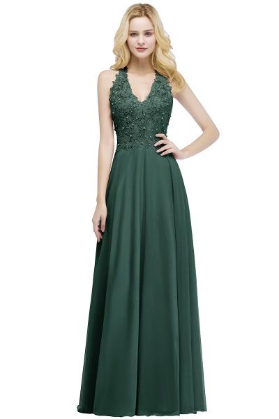 PAM | A-line V-neck Sleeveless Long Appliques Chiffon Bridesmaid Dresses_4