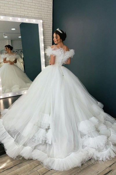 BC5616 Tulle Ruffles Pleated Off The Shoulder Ball Gown Wedding Dress_2