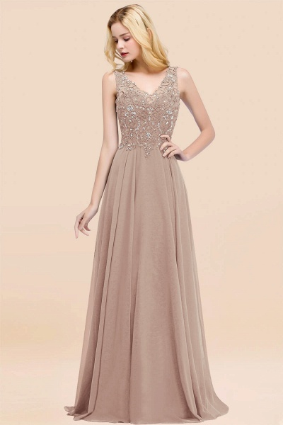 A-line Chiffon Appliques V-neck Sleeveless Floor-Length Bridesmaid Dresses with Crystals_16