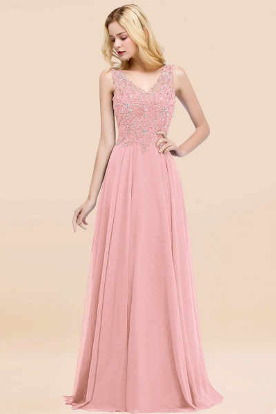 A-line Chiffon Appliques V-neck Sleeveless Floor-Length Bridesmaid Dresses with Crystals_4