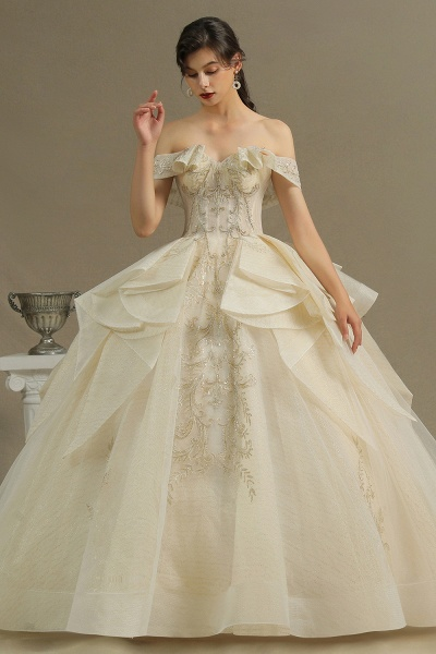 CPH243 Gorgeous Off-the-Shoulder Floral Appliques Ball Gown Ivory Luxury Wedding Dresses