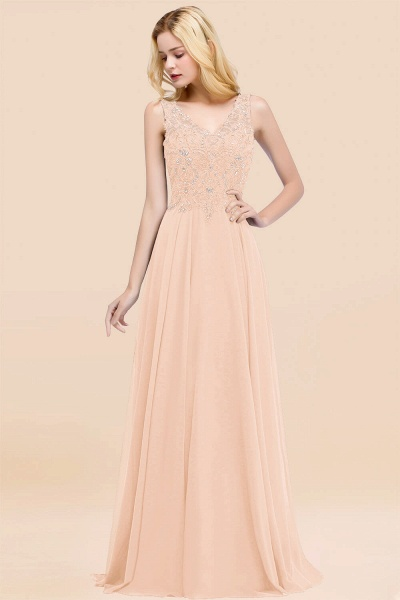 A-line Chiffon Appliques V-neck Sleeveless Floor-Length Bridesmaid Dresses with Crystals_5