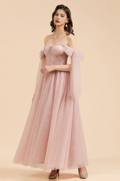 BM2007 A-line Pink Off The Shoulder Bow Tulle Floor Length Bridesmaid Dress_4
