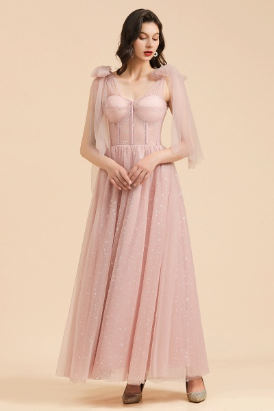 BM2007 A-line Pink Off The Shoulder Bow Tulle Floor Length Bridesmaid Dress_5