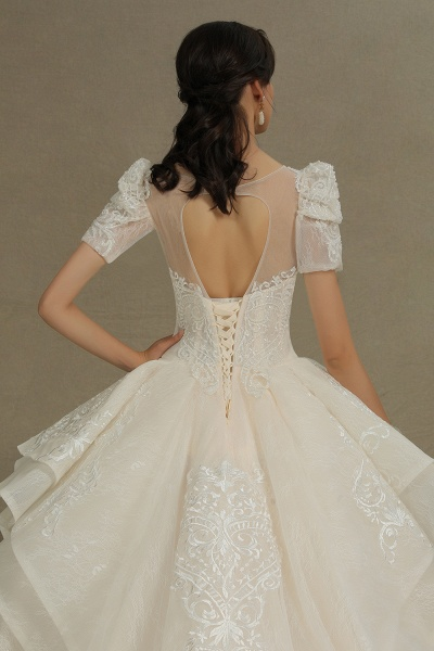 CPH222 Short Sleeve Garden Bridal Gown Sweetheart Luxury Wedding Dresses with Sweep Train_9