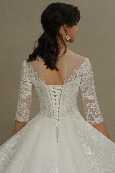 CPH227 Luxury Floral Lace Bridal Gown Crew Neck Long Sleeves Aline Luxury Wedding Dresses_4