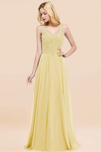 A-line Chiffon Appliques V-neck Sleeveless Floor-Length Bridesmaid Dresses with Crystals_18