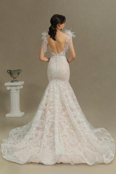 CPH233 Mermaid Further Tassel Appliques Open Back Wedding Dress_7