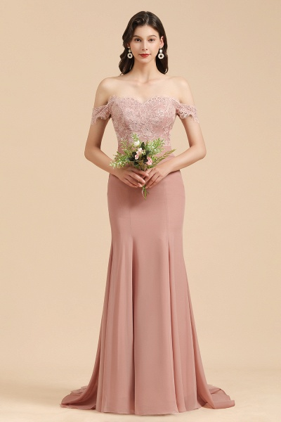 BM2009 Dusty Rose Mermaid Off The Shoulder Lace Bridesmaid Dress
