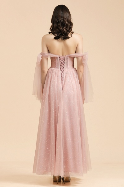BM2007 A-line Pink Off The Shoulder Bow Tulle Floor Length Bridesmaid Dress_2