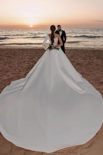 BC5617 One Shoulder Long Sleeve Sequins A-line Wedding Dress_2